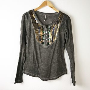 Free People Gray Sequin Placket Henley Thermal Top